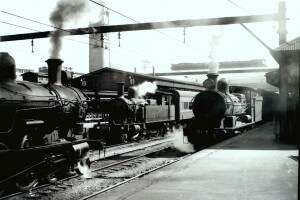 Steam Trains waiting to depart on Sydney Suburban Services