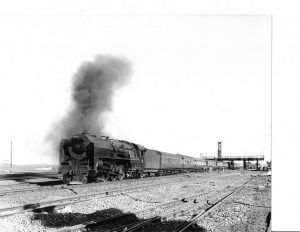 SAR pacific 16E 858 leaving Springfontein_South Africa with_10_cars_1Aug1969_web