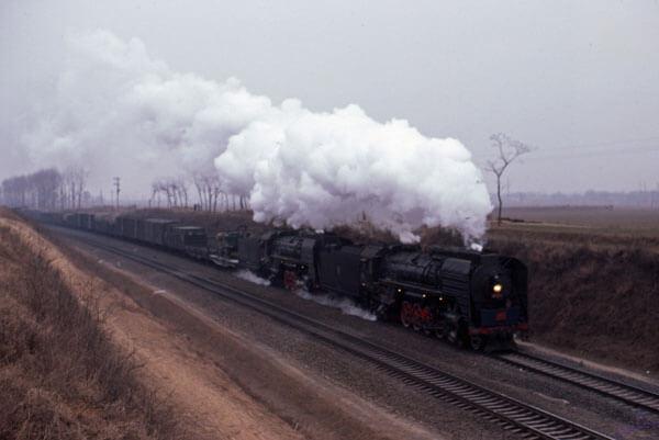 QJ + QJ china steam train luoyang