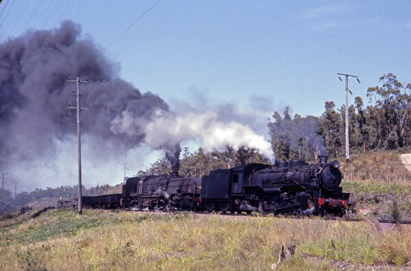 3820 + 60 class double headed steam freight Hawkmount
